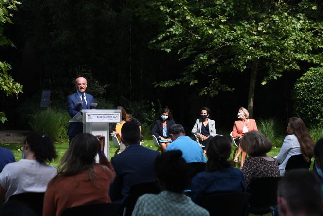 Jean-Michel Blanquer lors de sa conférence de presse de rentrée, au ministère de l'éducation nationale à Paris, le 26 août.