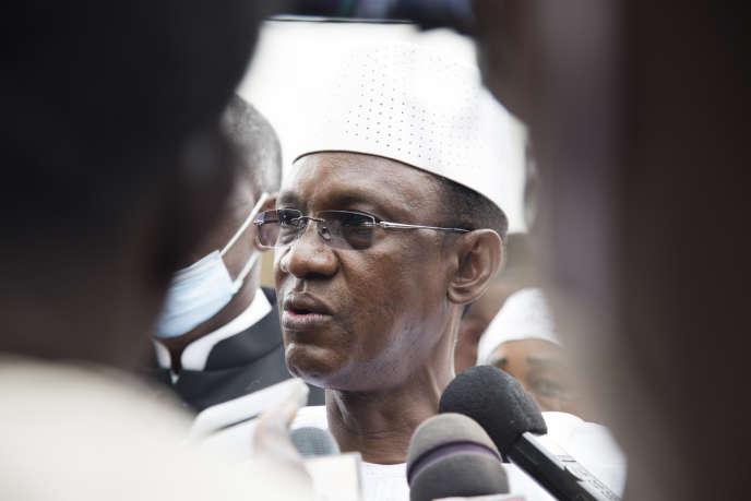 Choguel Maïga, le président du comité stratégique du M5-RFP, après la rencontre avec la junte au camp de Kati, le 26août 2020.
