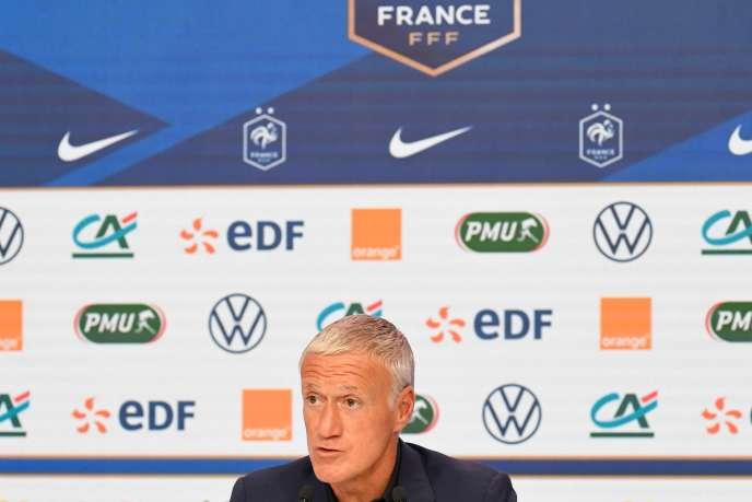 Didier Deschamps lors d'une conférence de presse, le 26 août à Paris.