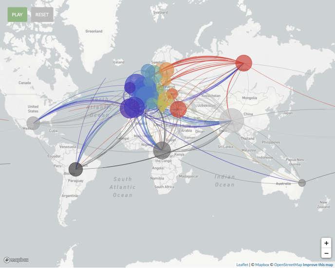 Représentation des origines des différentes importations du coronavirus en Europe entre le 7 avril et le 1er juillet 2020, tirées du séquençage de leurs génomes.