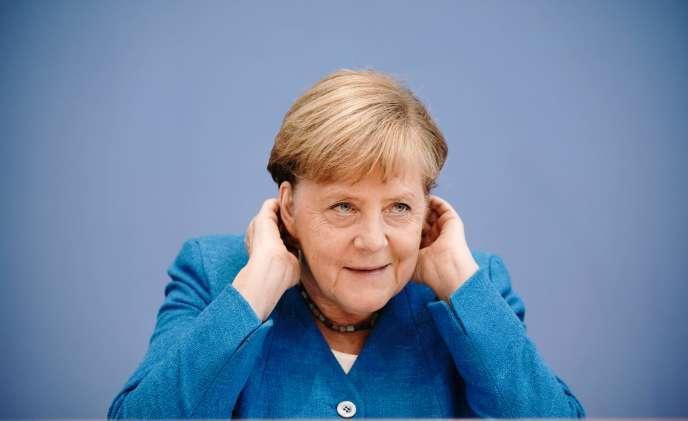 La chancelière allemande Angela Merkel, lors de sa conférence de presse de rentrée, le 28 août à Berlin.