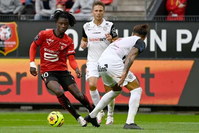 Rennais Eduardo Camavinga at work against Montpellier, Saturday, August 29.