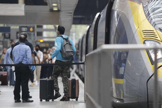 Arrivéed'un Eurostar venu de Parisgare de Saint-Pancras, à Londres,le 14 août.