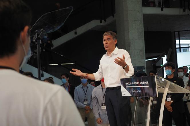 Olivier Faure, premier secrétaire du PS, à l'université d'été du Parti socialiste, le 29 août à Blois.