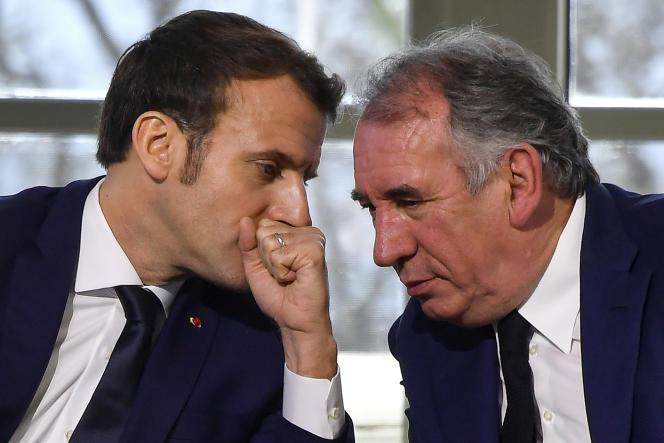 Emmanuel Macron et François Bayrou, à Pau, en janvier 2020.