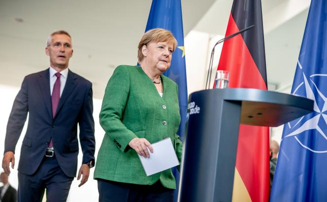 La chancelière Angela Merkel et le secrétaire général de l'OTAN,Jens Stoltenberg, le 27 août à Berlin.