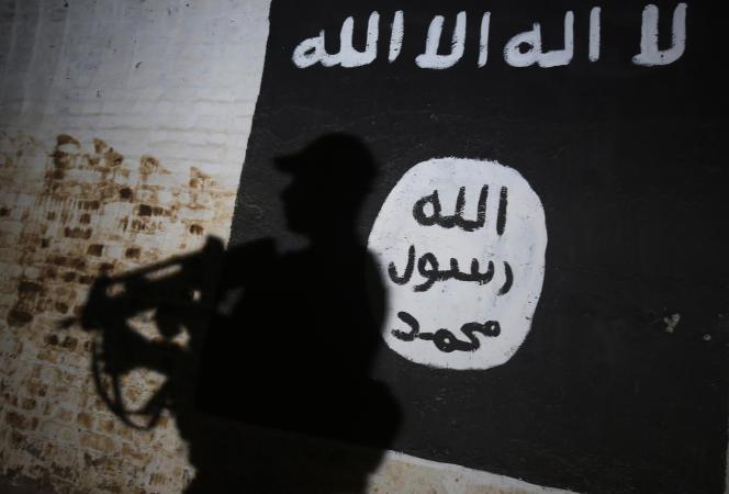 Logo de l'organisation Etat islamique à Mossoul.