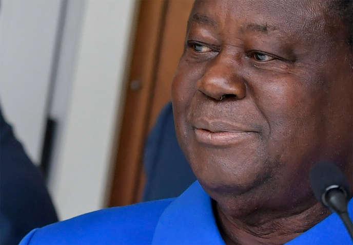 L'ancien président ivoirien Henri Konan Bédié après avoir été déclaré candidat du Parti démocratique de Côte d'Ivoire (PDCI) à l'élection présidentielle du 31 octobre, à Abidjan, le 27 juillet 2020.