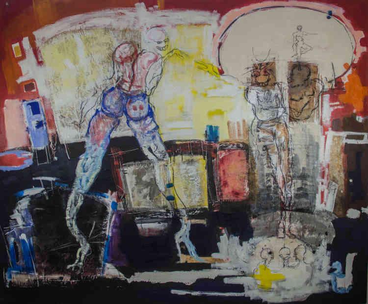 «Reine d'un jour»(2020 ), de Dominique Zinkpe (né en 1969 à Abomey, Bénin), acrylique et pastel gras sur toile.