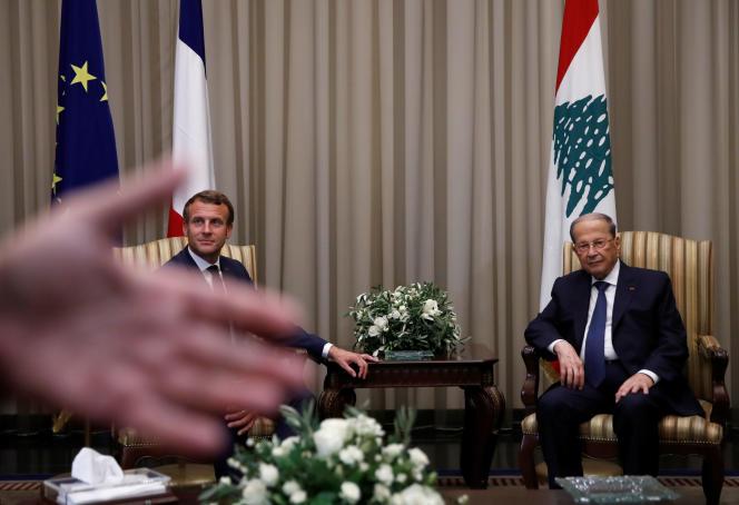 Le président français Emmanuel Macron et son homolgue libanais Michel Aoun, le 31 août à Beyrouth.