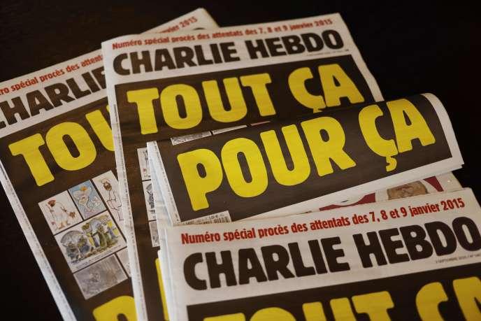 « Unes» de l'hebdomadaire «Charlie Hebdo» du 2 septembre, à la veille de l'ouverture du procès des attentats de janvier 2015, à Paris.