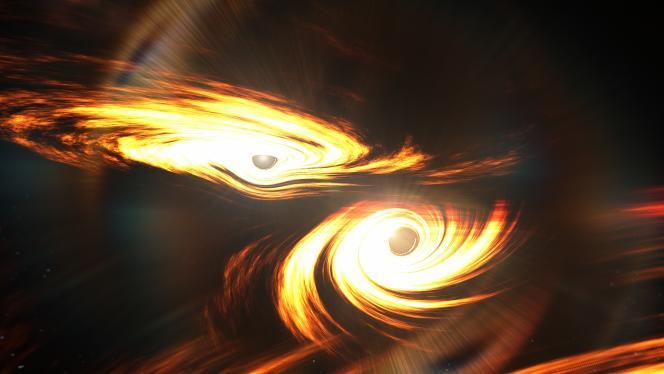 La idea del artista de la fusión de dos agujeros negros gigantes.
