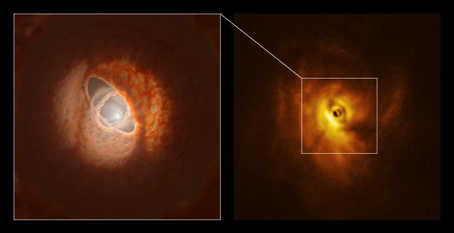 A droite, photo prise par l'instrument Sphere du Very Large Telescope (Observatoire européen austral, Chili),à gauche, une vue d'artiste de la partie interne du disque.