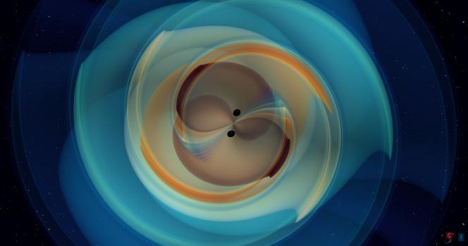 Simulation des ondes gravitationnelles engendrées par la fusion, il y a 7 milliards d'années, de deux trous noirs ayant entraîné la création d'un nouveau trou noir d'une masse inédite, baptisé GW190521.