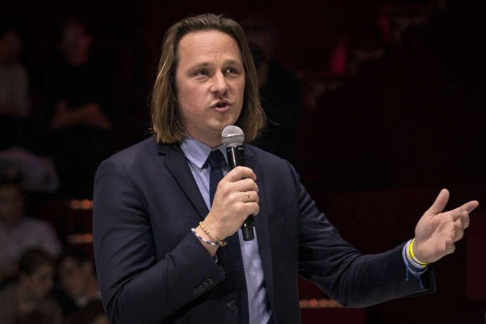 Geoffroy Lejeune, directeur de la rédaction de «Valeurs actuelles», lors d'un débat sur l'Europe à Paris, en avril2019.