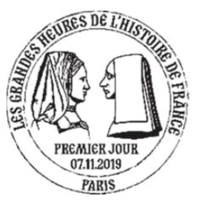 Timbre à date grand format illustré dessiné par Stéphanie Ghinéa.