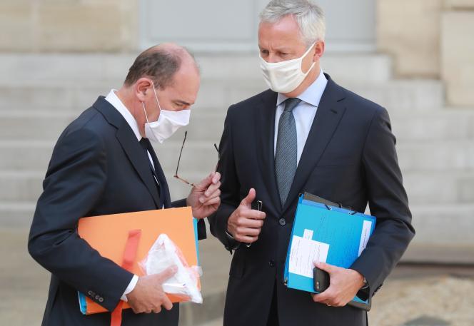 Jean Castex et Bruno Le Maire, à l'Elysée, le 26 août.