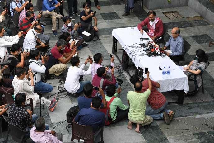 L'avocat Prashant Bhushan lors d'une conférence de presse à New Delhi, le 31 août.
