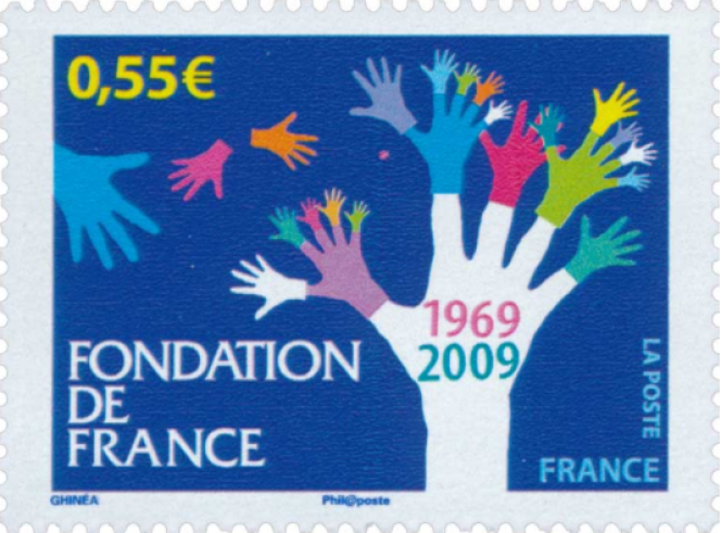 « Fondation de France», timbre de Stéphanie Ghinéa (2009).