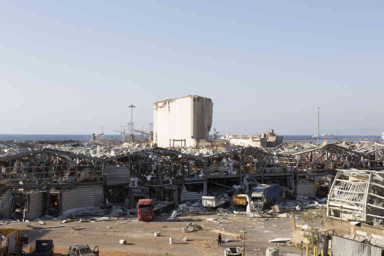 Destruction at the port of Beirut, Lebanon, Wednesday, August 5, 2020, a day after the explosion.