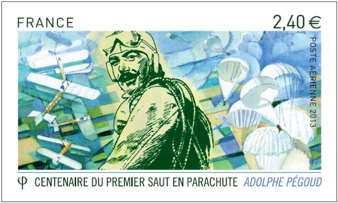 Maquette du timbre dédié à Adolphe Pégoud, par Jame's Prunier, émis en 2013. Premier pilote à sauter en parachute de son avion, un monoplan Blériot le 19 août 1913. On retrouve la patte« cubiste» de Jame's Prunier dans l'arrière-plan du timbre.