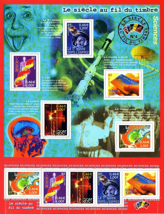 Les premiers timbres de Stéphanie Ghinéa, en 2001, sur les« sciences».