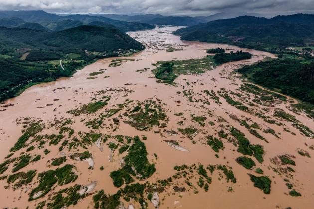 Malgré le début de la saison des pluies, le niveau du Mékong reste bas, àSangkhom, dans la province de Nong Khai (Thaïlande), en août.