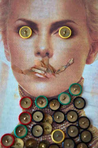 """«J'ai découvert le travail de Paul Pouvreau grâce à Françoise Morin, et j'ai apprécié sa démarche esthétique de collage, de réinterprétation d'images de magazines. Le titre de la série,""""Mascarade"""", est pour moi également pertinent, tant il résume parfaitement la façon dontl'artiste se permet de se jouer des canons et diktats de la beauté et de nos masques sociaux.»"""