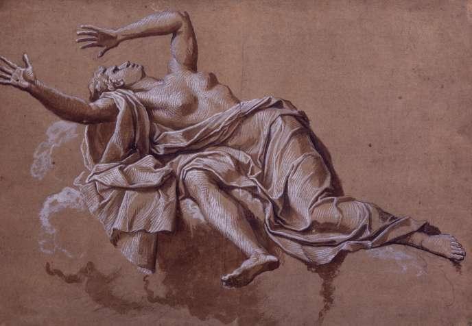 «Femme projetée en arrière (La Fraude)», de Noël Coypel (XVIIe siècle).Pierre noire, lavis brun, rehauts, 39,2 cm × 43,1 cm, Collection Prat.