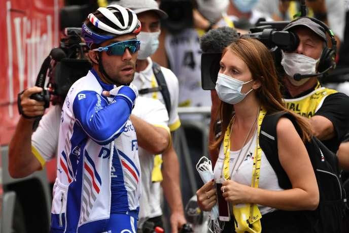 Visage marqué à la fin de la 8e étape, Thibaut Pinot vient d'abandonner tout espoir de victoire sur le Tour de France, à Loudenvielle, le 5 septembre.