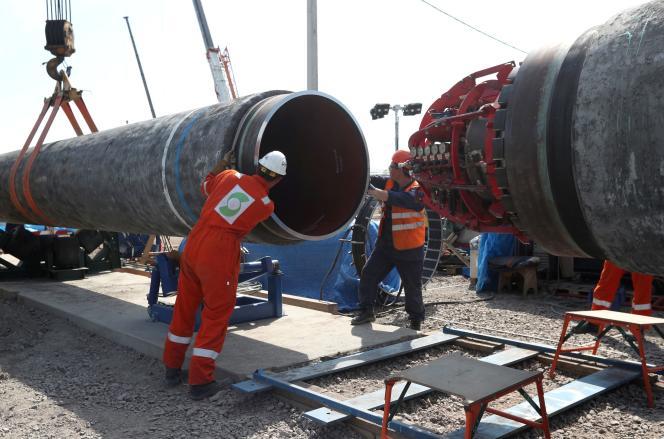 Sur le chantier du gazoduc Nord Stream 2, près de Kingisepp en Russie, en juin 2019.
