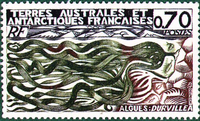 Timbre dessiné et gravé par Jean Delpech et imprimé en taille-douce pour les TAAF (1977).