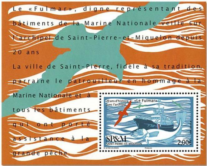 « Le Fulmar», bloc-feuillet dessiné par Marie Détrée-Hourrière pour Saint-Pierre-et-Miquelon (2018)