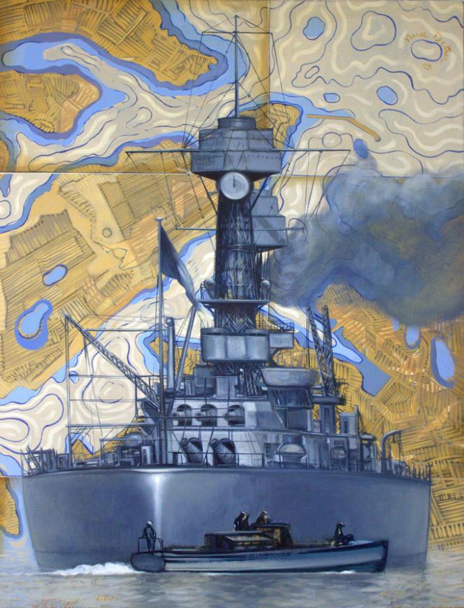 «Je ne redoute rien», huile sur toile, 116 x 81 cm. Le bateau représenté est le «USS California».