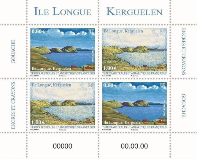 « Ile Longue. Kerguelen», timbres des TAAF dessinés par Marie Détrée-Hourrière (2012). Emis en blocs indivisibles numérotésde quatre timbres.