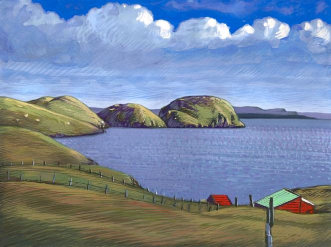 Oeuvre originale à la gouache pour le timbre des TAAF sur l'île Longue (Kerguelen) émis en 2012.