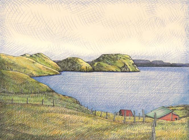 Oeuvre originale au crayons de couleur et encre pour le timbre des TAAF sur l'île Longue (Kerguelen) paru en 2012.