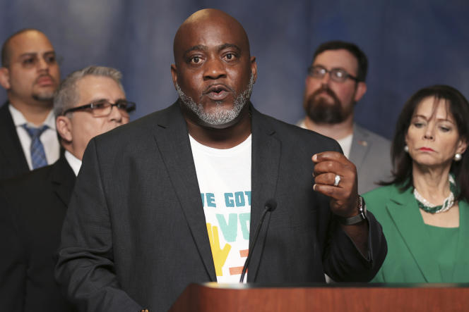 Desmond Meade, président de la Florida Rights Restoration Coalition, lors d'une conférence de presse, à Miami, le 29 juillet 2019.