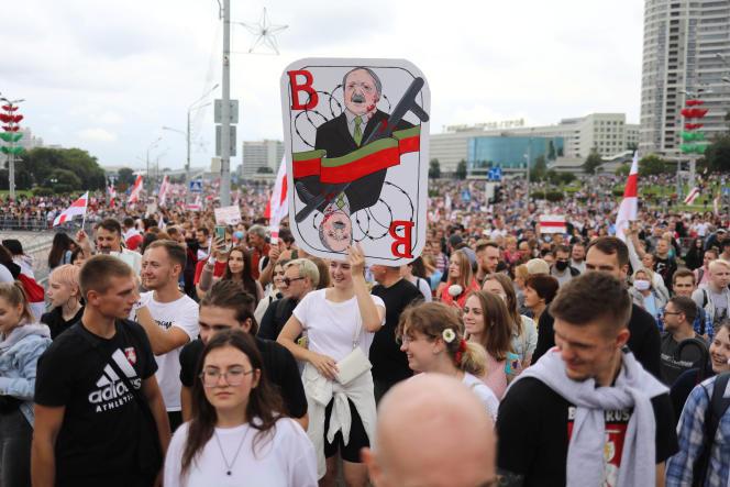 Lors d'une manifestation anti-Loukachenko, le 6 septembre.