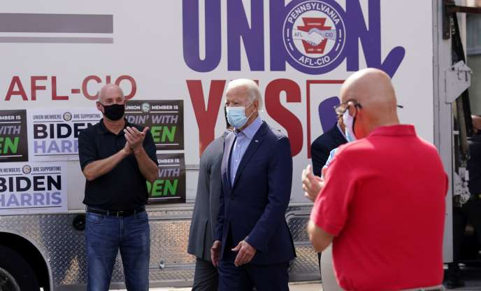 Joe Biden rencontre des syndicalistes à Harrisburg, Pennsylvanie, le 7 septembre.