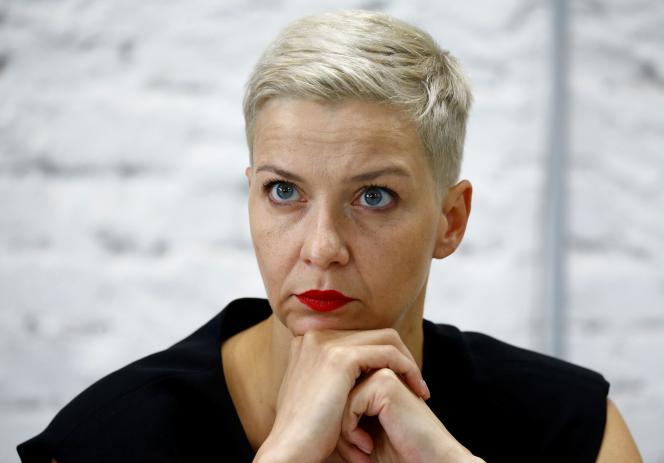 L'opposantepolitique Maria Kolesnikova, lors d'une conférence de presse à Minsk, le 24 août.