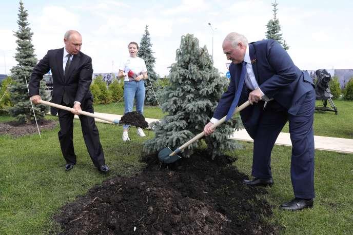 Vladimir Poutine et Alexandre Loukachenko plantent un arbre lors d'une cérémonie au mémorial du soldat soviétique, près de Rjev (Russie), le 30 juin.