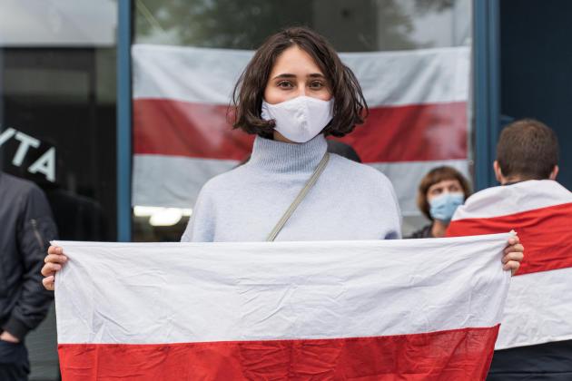 Aux abords de l'ambassade biélorusse de Vilnius, le 4 septembre 2020.