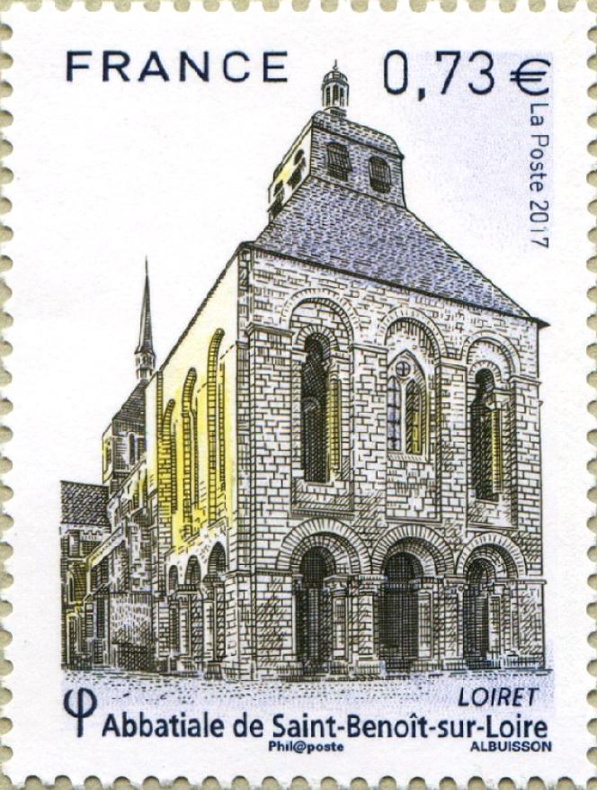 « Abbatiale de Saint-Benoît-sur-Loire», dessiné et gravé par Pierre Albuisson (2017), un timbre qu'apprécieChristophe Laborde-Balen