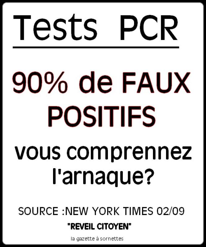 Capture d'écran d'un message affirmant que 90 % des tests PCR pratiqués actuellement seraient de« faux positifs».