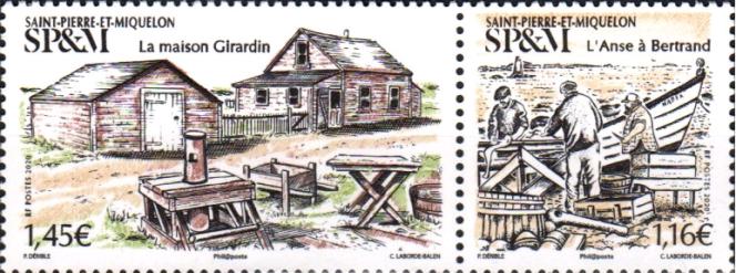 « La Maison Girardin» et« L'Anse à Bertrand», timbres de Saint-Pierre-et-Miquelon dessinés par Patrick Dérible, gravés parChristophe Laborde-Balen (2020).