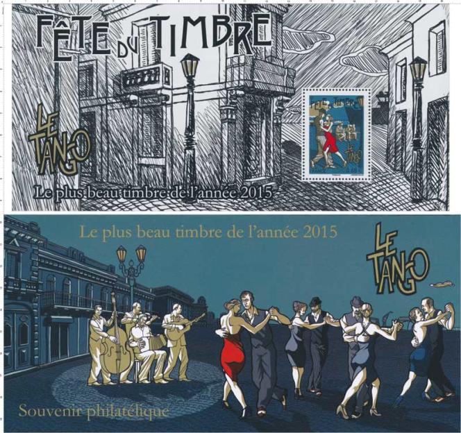 Bloc-feuillet timbré souvenir créé par Christophe Laborde-Balen paru en 2016 après la victoire du timbre« Le tango» lors de l'élection du plus beau timbre de l'année 2015.