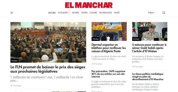 Capture d'écran de la« une» du site satirique algérien «El Manchar» du 8 septembre 2020.