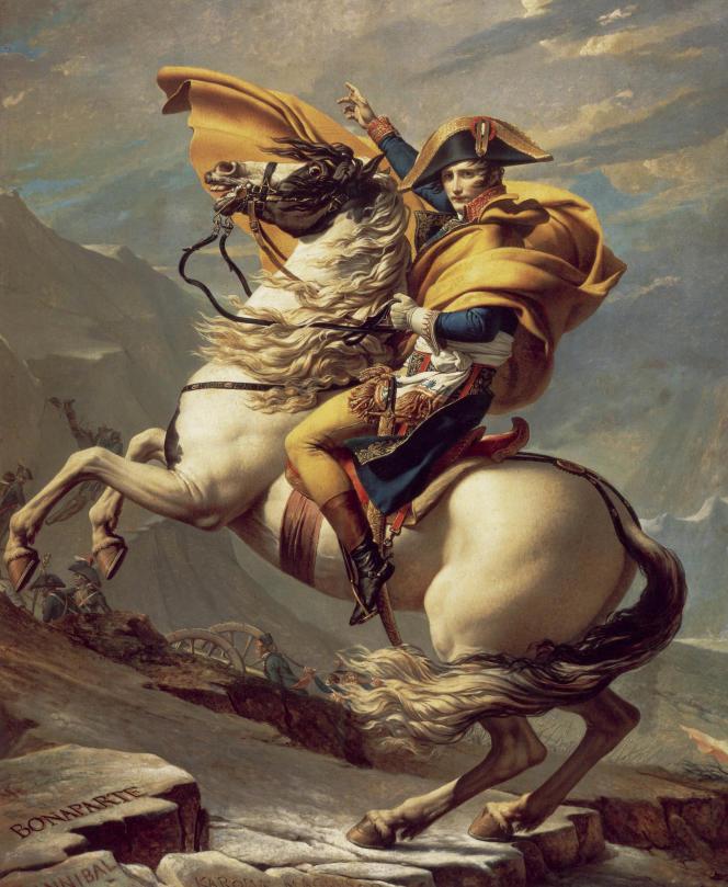 «Bonaparte franchissant le Grand-Saint-Bernard», un portrait équestre réalisé parJacques-Louis Davidentre1800et1803.