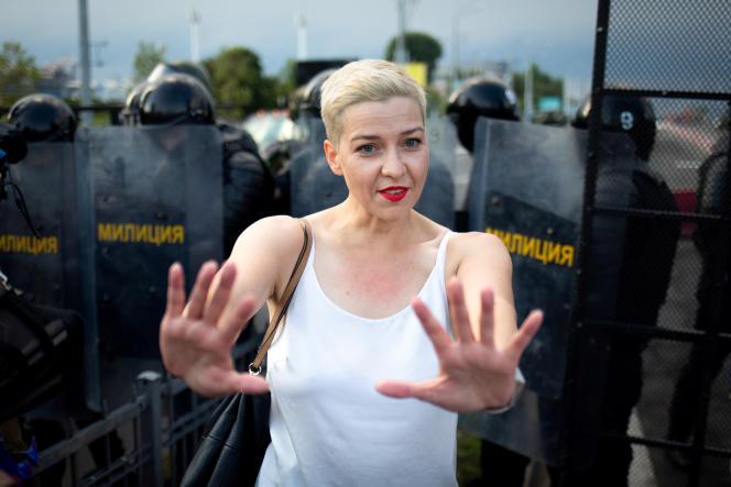 L'opposanteMaria Kolesnikova lors d'une manifestation à Minsk, le 30 août.